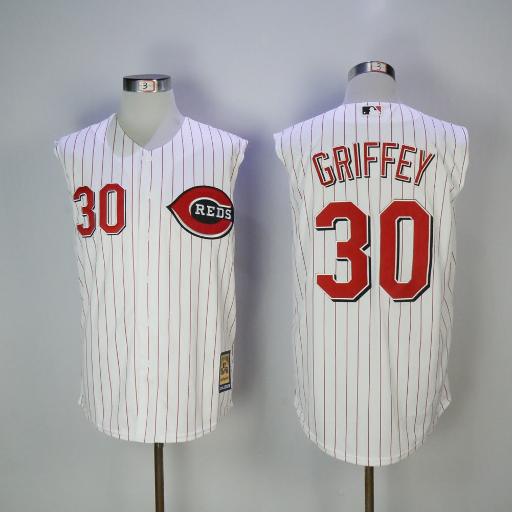 Men MLB Cincinnati Reds 30 Griffey white red strips jerseys