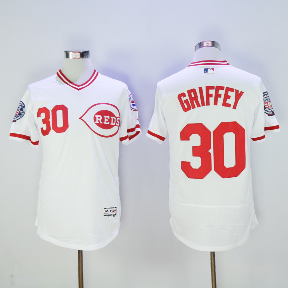 Men MLB Cincinnati Reds 30 Griffey white throwback jerseys