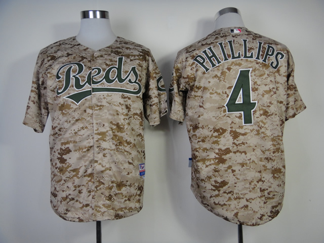 Men MLB Cincinnati Reds 4 Phillips Camo jerseys