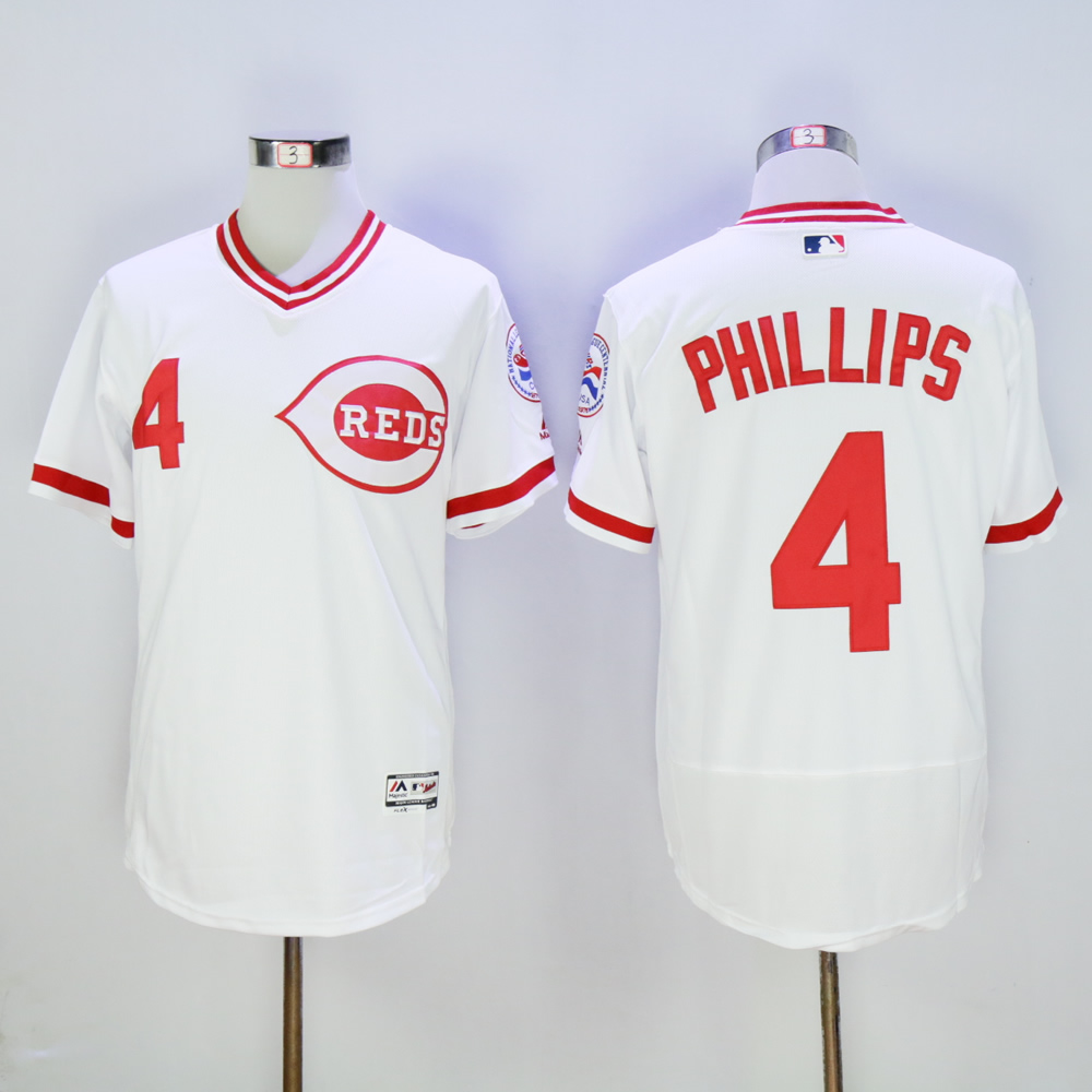 Men MLB Cincinnati Reds 4 Phillips white Mitchell Ness jerseys