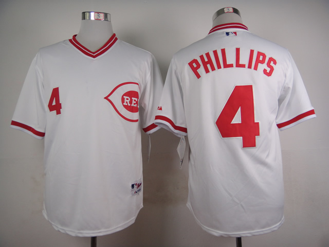 Men MLB Cincinnati Reds 4 Phillips white turn back jerseys