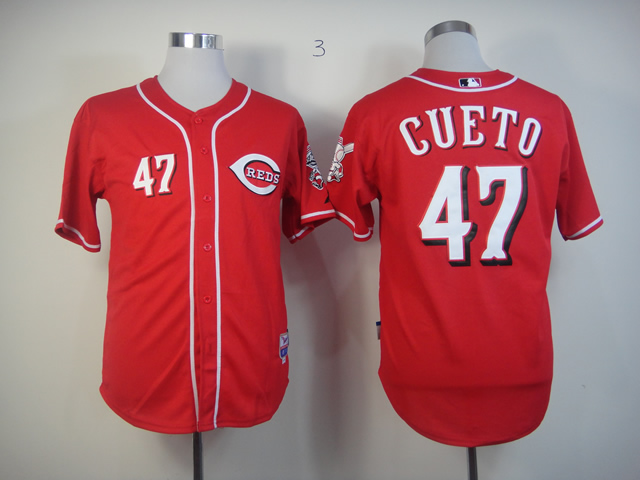 Men MLB Cincinnati Reds 47 Cueto red jerseys