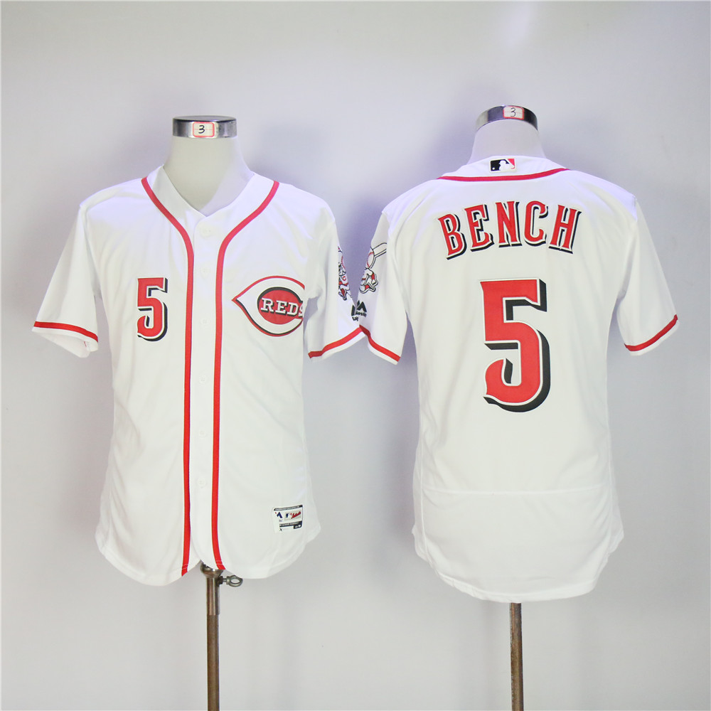 Men MLB Cincinnati Reds 5 Bench white Flexbase jerseys