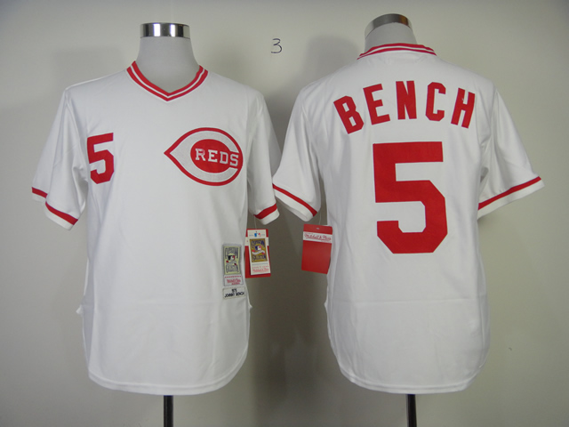 Men MLB Cincinnati Reds 5 Bench white throwback 1975 jerseys