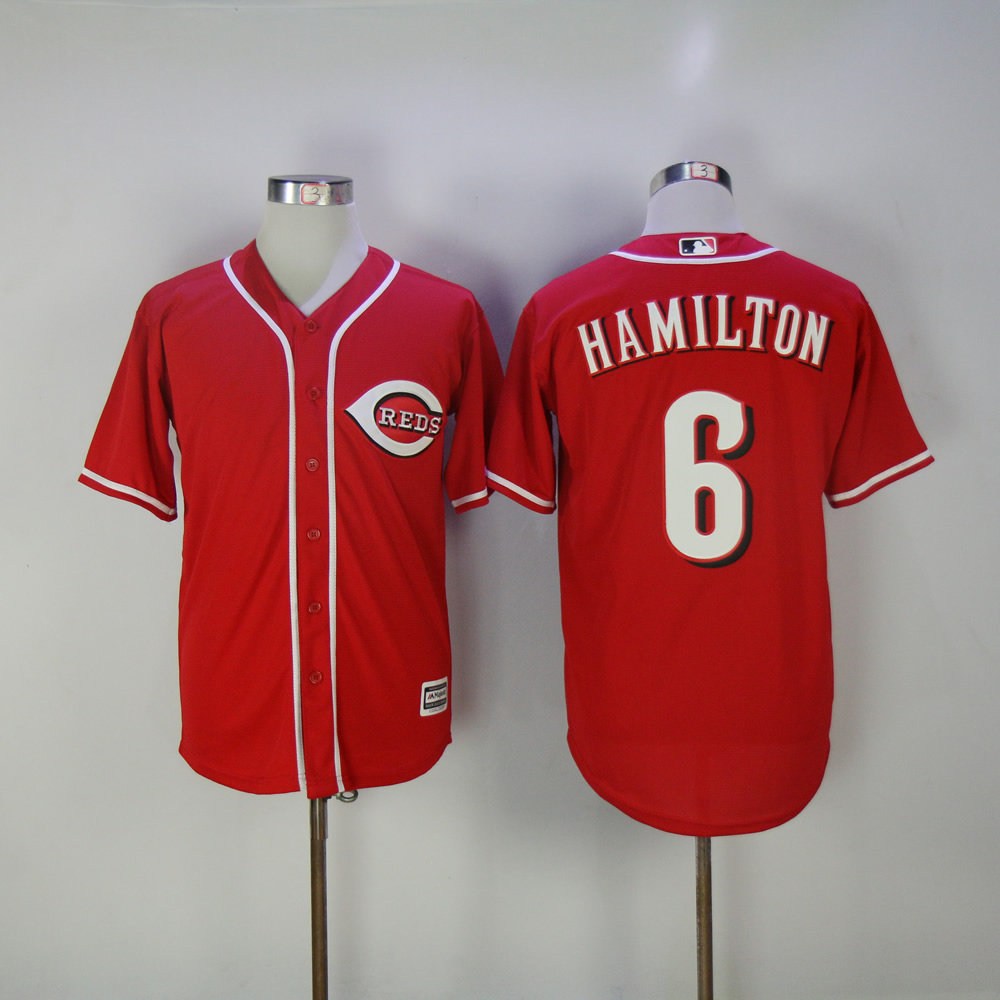 Men MLB Cincinnati Reds 6 Hamilton red game jerseys