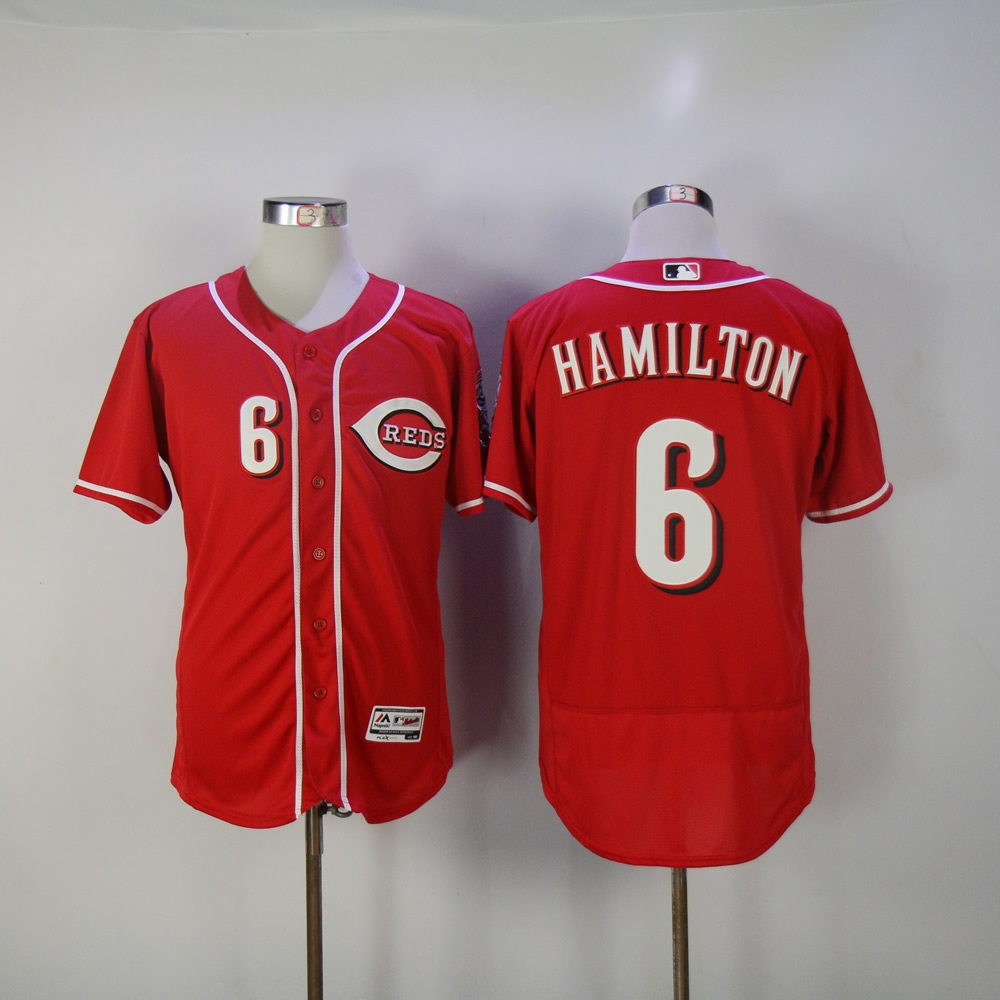 Men MLB Cincinnati Reds 6 Hamilton red jerseys