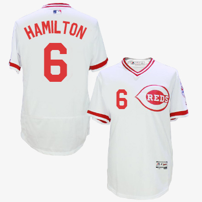 Men MLB Cincinnati Reds 6 Hamilton white throwback 1976 jerseys