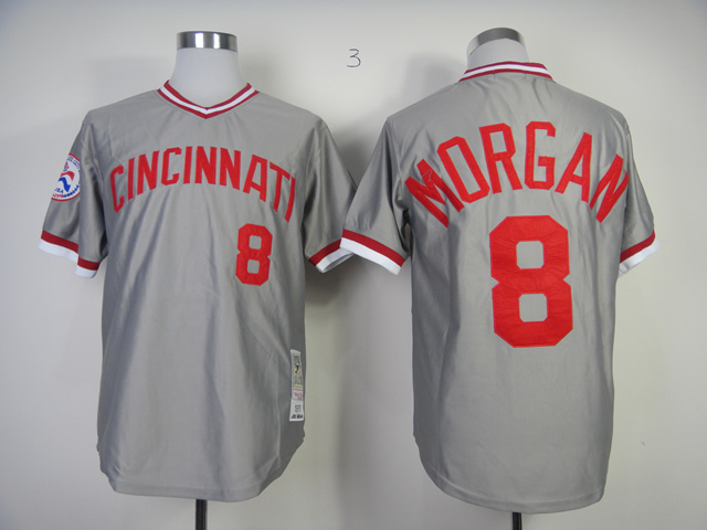 Men MLB Cincinnati Reds 8 Morgan grey jerseys