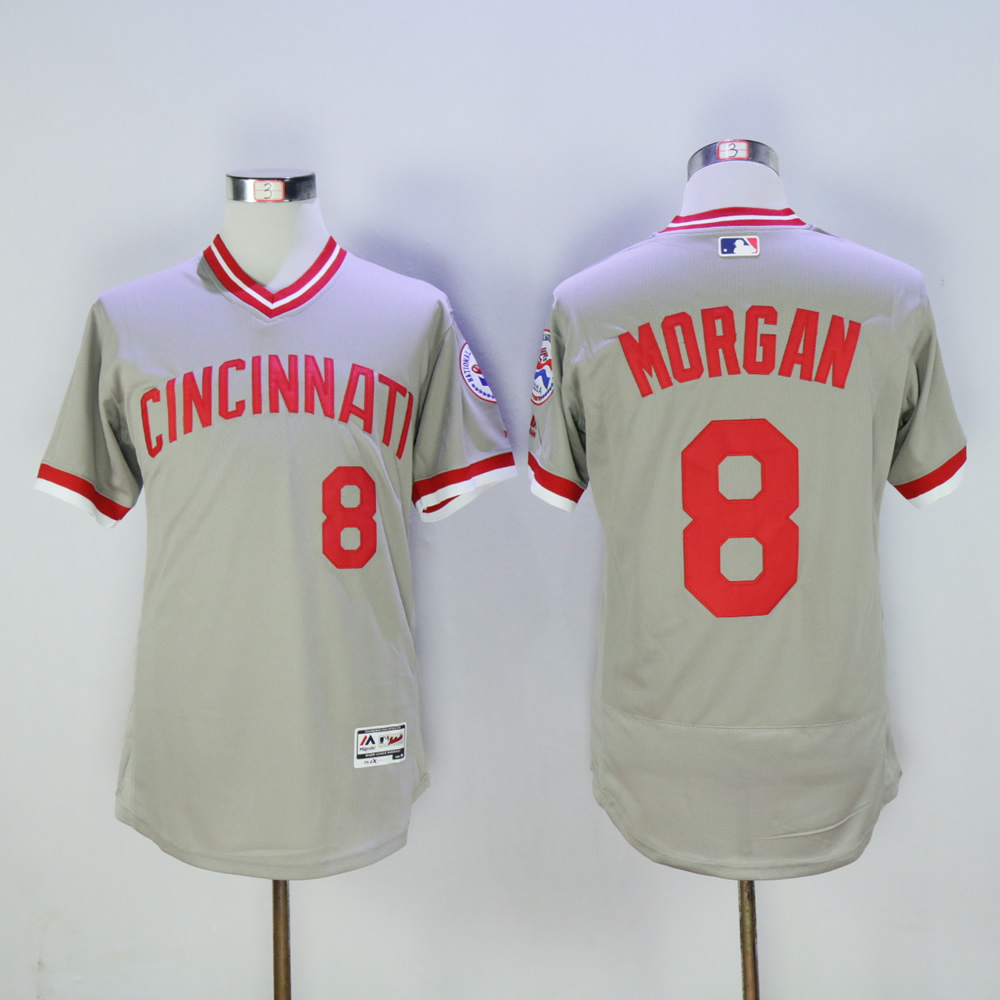 Men MLB Cincinnati Reds 8 Morgan grey throwback 1976 jerseys