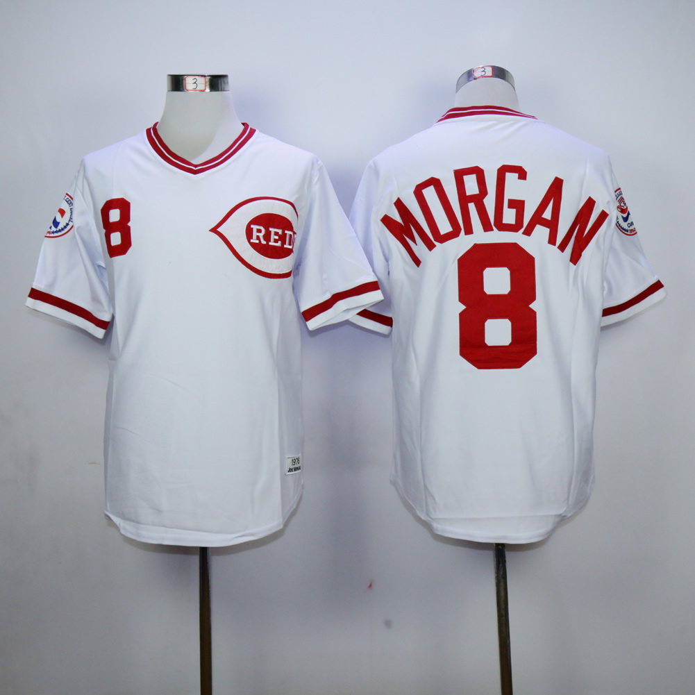 Men MLB Cincinnati Reds 8 Morgan white jerseys