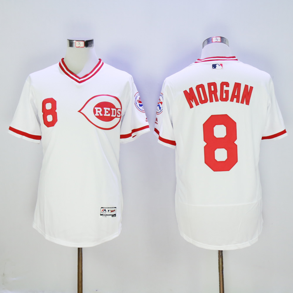 Men MLB Cincinnati Reds 8 Morgan white throwback 1976 jerseys