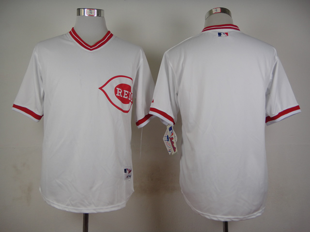 Men MLB Cincinnati Reds blank white jerseys