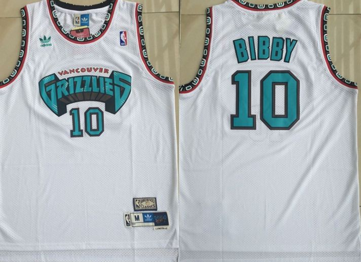 Men Memphis Grizzlies 10 Bibby White Throwback Adidas NBA Jerseys