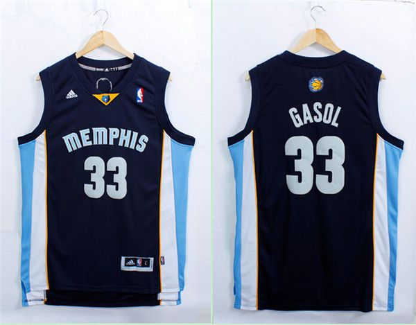 Men Memphis Grizzlies 33 Gasol Blue Adidas NBA Jerseys