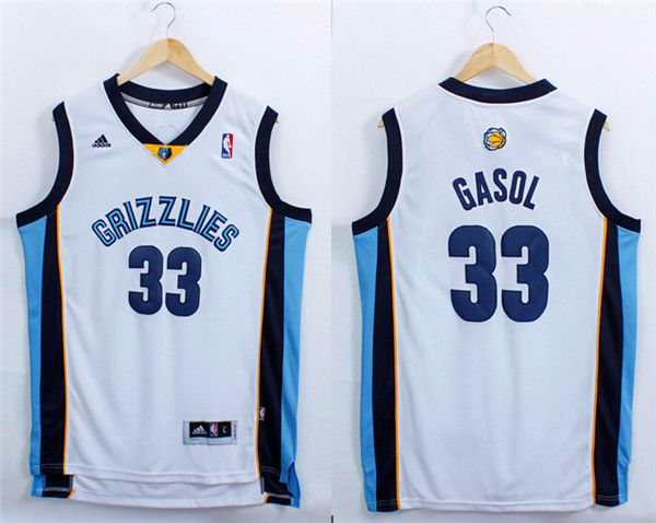 Men Memphis Grizzlies 33 Gasol White Adidas NBA Jerseys