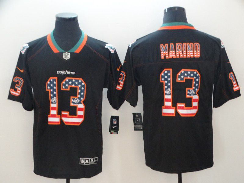 Men Miami Dolphins 13 Marino Nike USA Flag Fashion Black Color Rush Limited NFL Jerseys