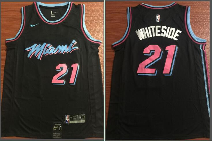 Men Miami Heat 21 Whiteside Black City Edition Game Nike NBA Jerseys