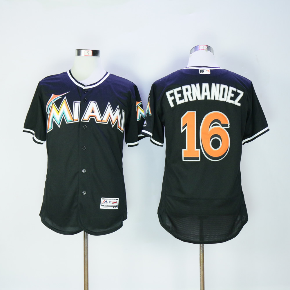 Men Miami Marlins 16 Fernandez Black Elite MLB Jerseys
