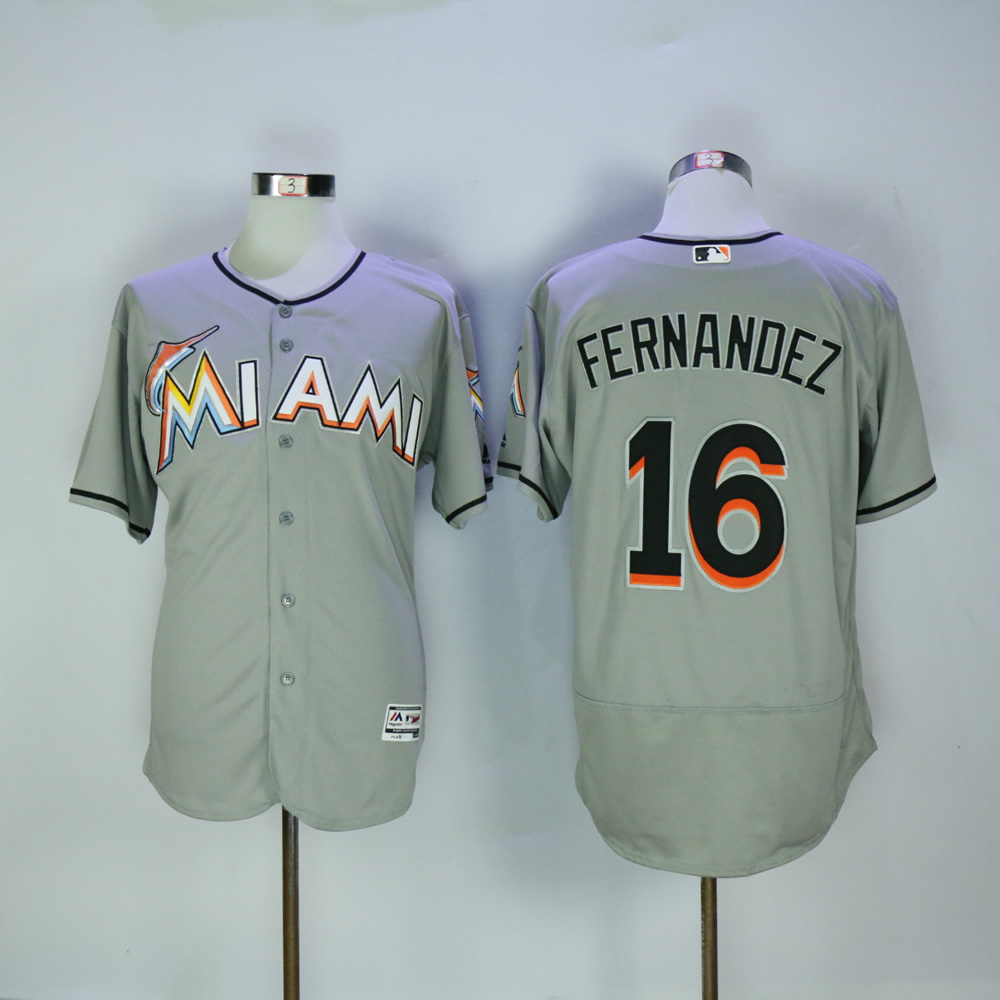 Men Miami Marlins 16 Fernandez Grey Elite MLB Jerseys