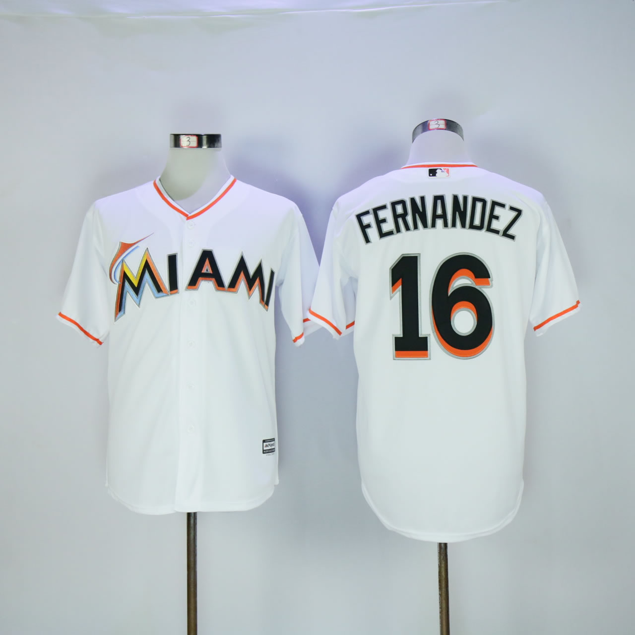 Men Miami Marlins 16 Fernandez White Game MLB Jerseys
