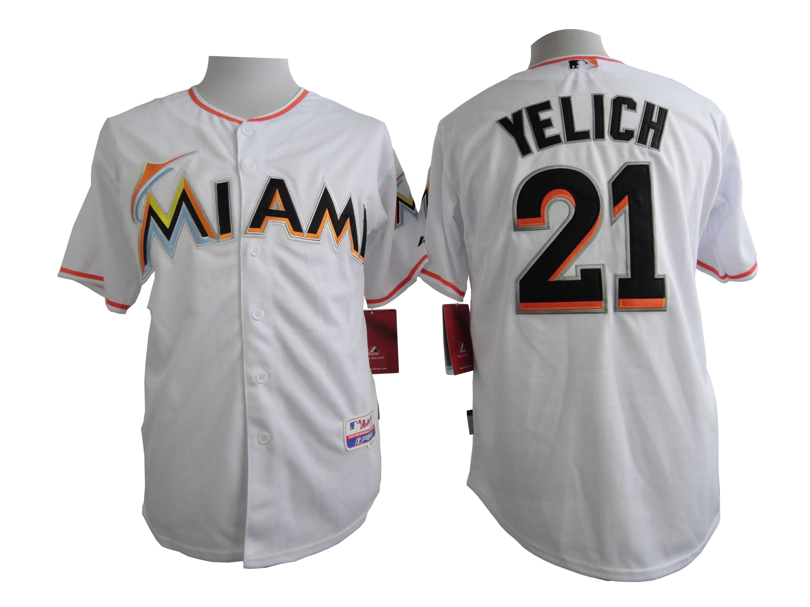 Men Miami Marlins 21 Yelich White MLB Jerseys