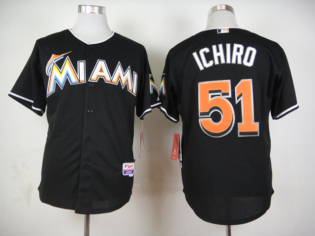 Men Miami Marlins 51 Ichiro Black MLB Jerseys