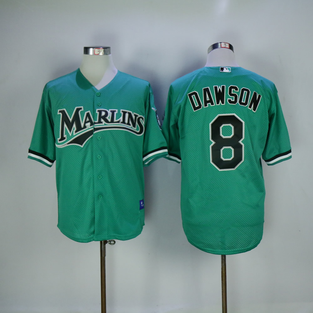 Men Miami Marlins 8 Dawson Green Throwback MLB Jerseys