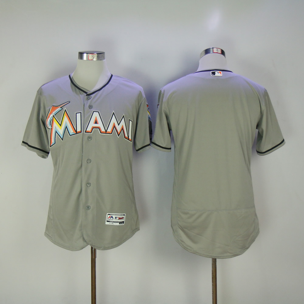 Men Miami Marlins Blank Grey MLB Jerseys