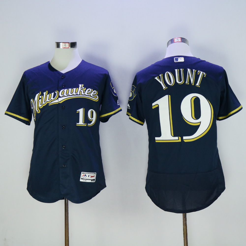 Men Milwaukee Brewers 19 Yount Blue MLB Jerseys