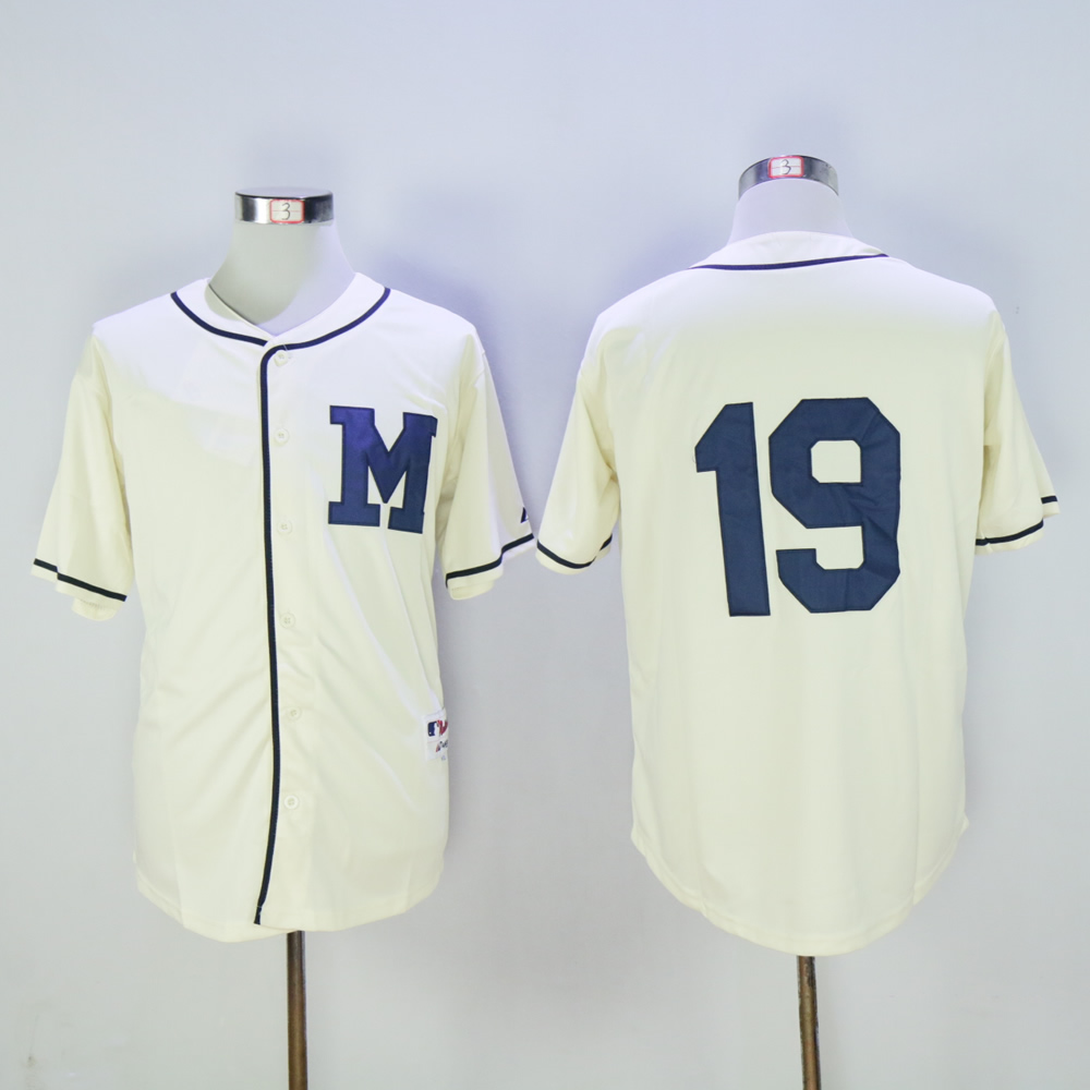 Men Milwaukee Brewers 19 Yount Cream Throwback 1913 MLB Jerseys