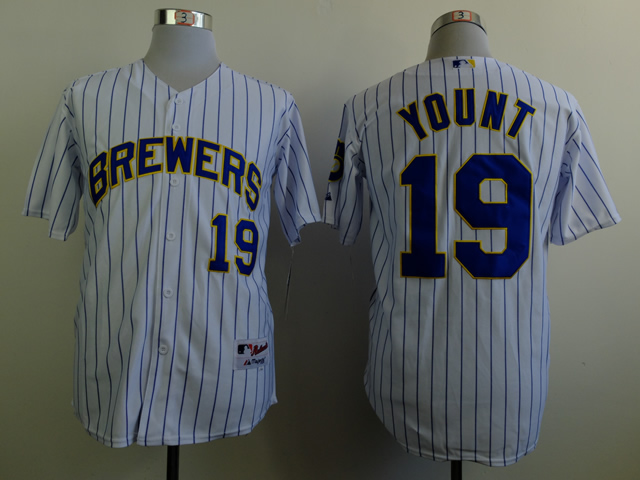 Men Milwaukee Brewers 19 Yount White MLB Jerseys