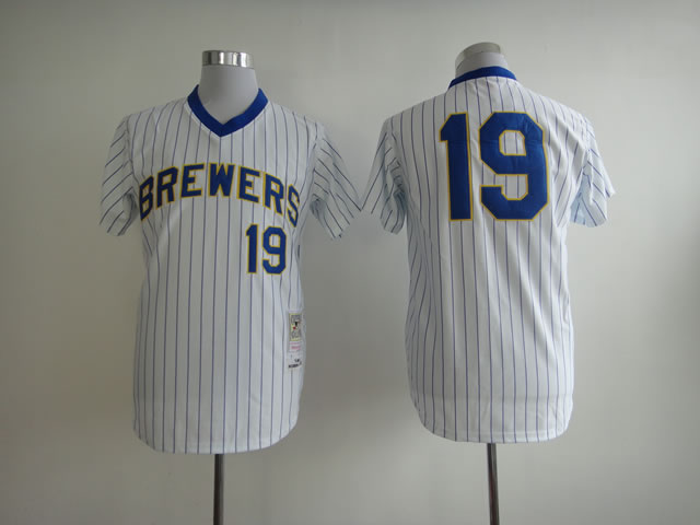 Men Milwaukee Brewers 19 Yount White Stripe MLB Jerseys