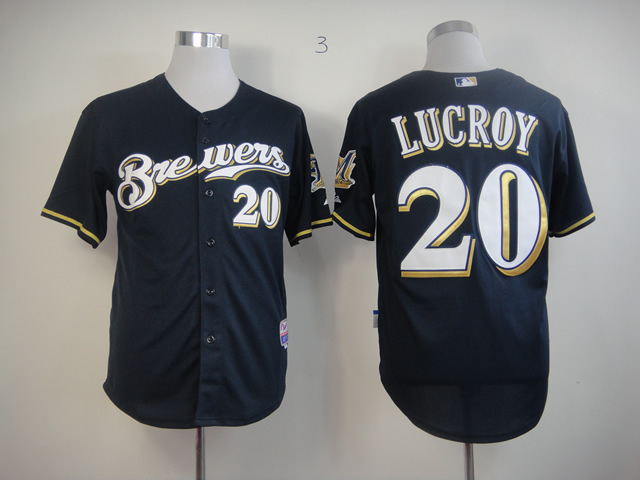 Men Milwaukee Brewers 20 Lucroy Blue MLB Jerseys1