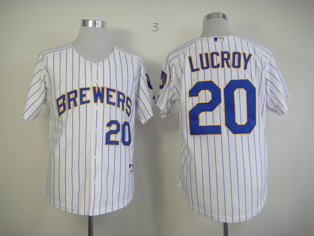 Men Milwaukee Brewers 20 Lucroy White Stripe MLB Jerseys