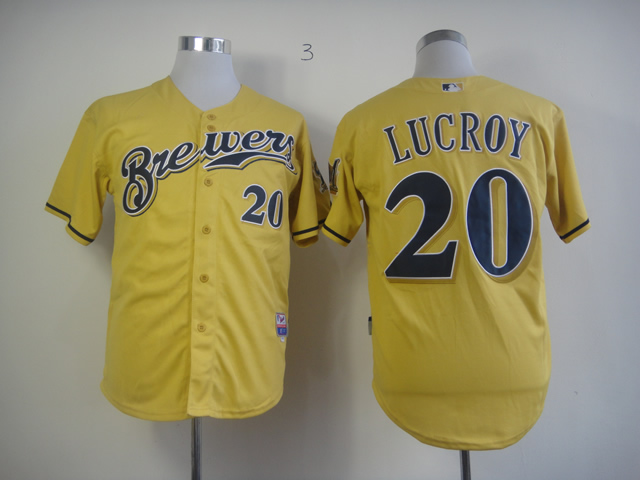 Men Milwaukee Brewers 20 Lucroy Yellow MLB Jerseys