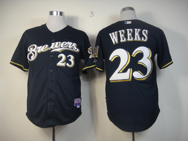 Men Milwaukee Brewers 23 Weeks Blue MLB Jerseys