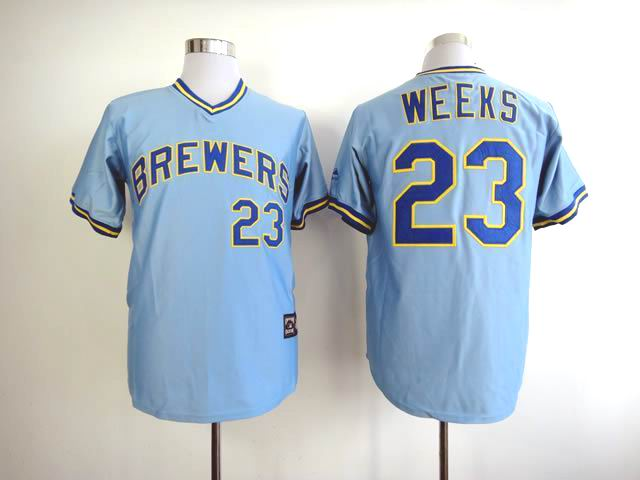 Men Milwaukee Brewers 23 Weeks Blue Throwback MLB Jerseys