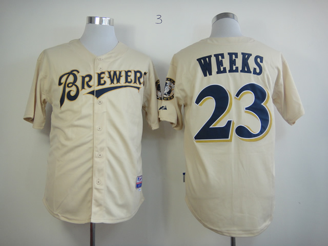 Men Milwaukee Brewers 23 Weeks Cream MLB Jerseys