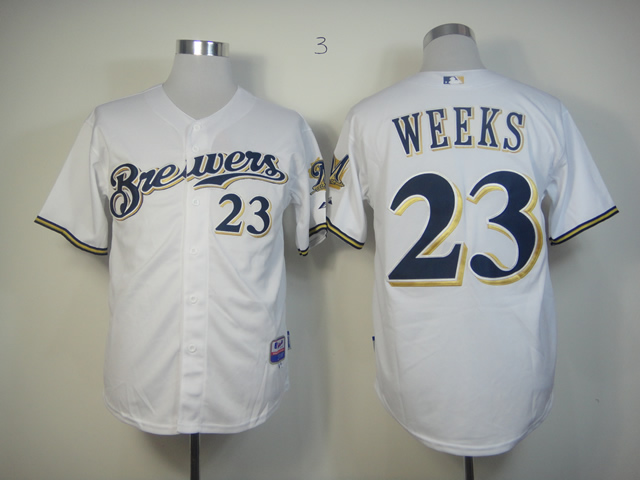 Men Milwaukee Brewers 23 Weeks White MLB Jerseys