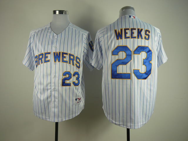 Men Milwaukee Brewers 23 Weeks White Stripe MLB Jerseys