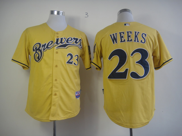 Men Milwaukee Brewers 23 Weeks Yellow MLB Jerseys