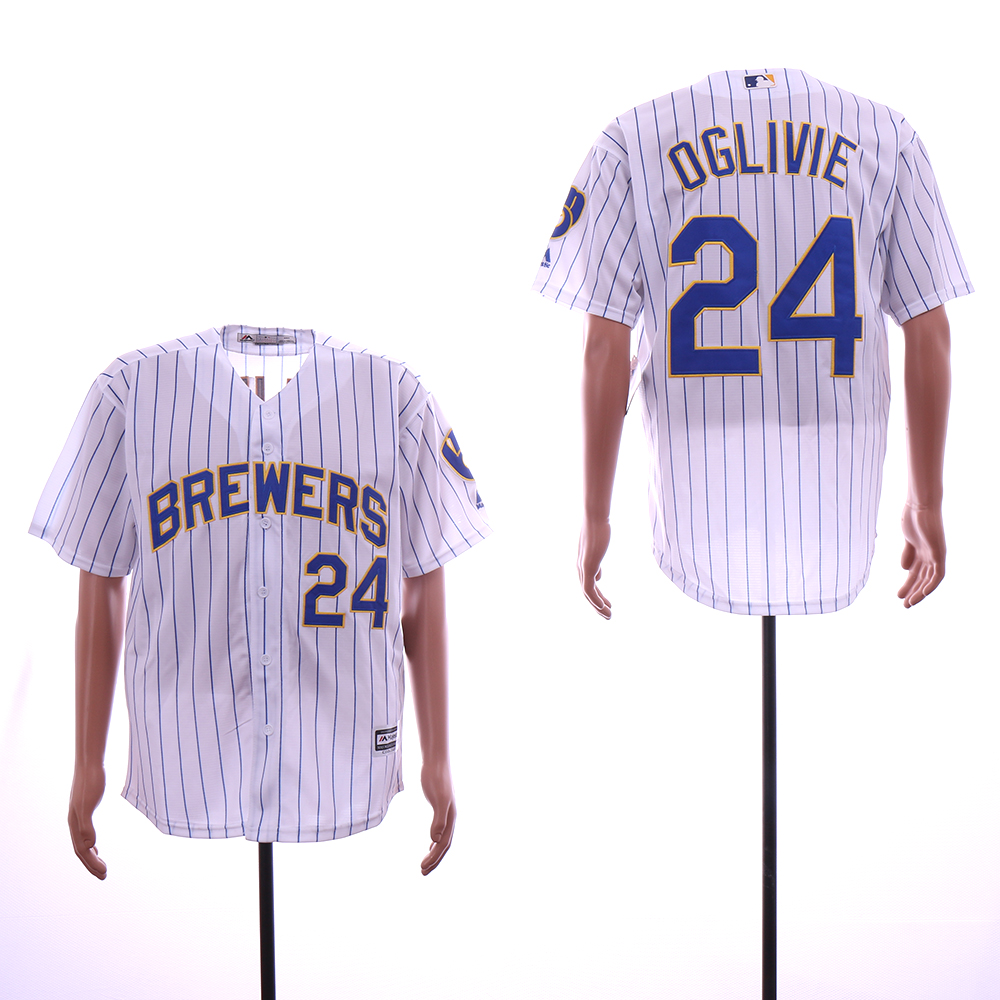 Men Milwaukee Brewers 24 Oglivie White MLB Jerseys