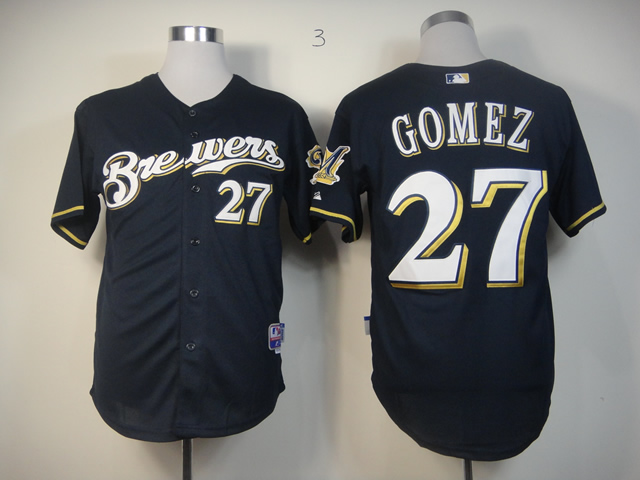Men Milwaukee Brewers 27 Gomez Blue MLB Jerseys