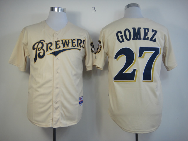 Men Milwaukee Brewers 27 Gomez Cream MLB Jerseys