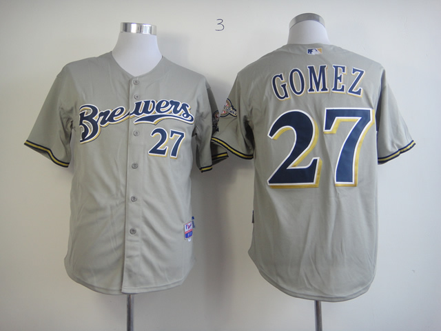 Men Milwaukee Brewers 27 Gomez Grey MLB Jerseys