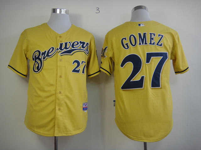 Men Milwaukee Brewers 27 Gomez Yellow MLB Jerseys