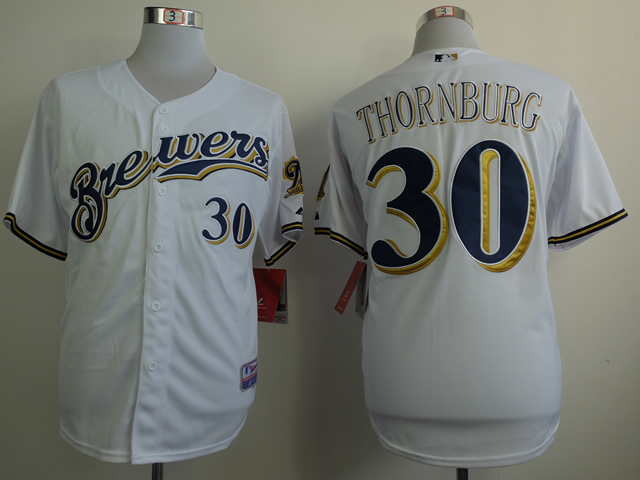 Men Milwaukee Brewers 30 Thornburg White MLB Jerseys