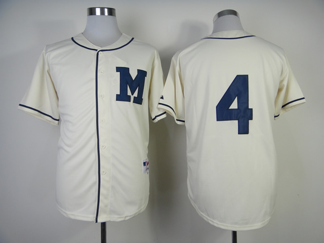 Men Milwaukee Brewers 4 Molitor Cream Throwback 1913 MLB Jerseys