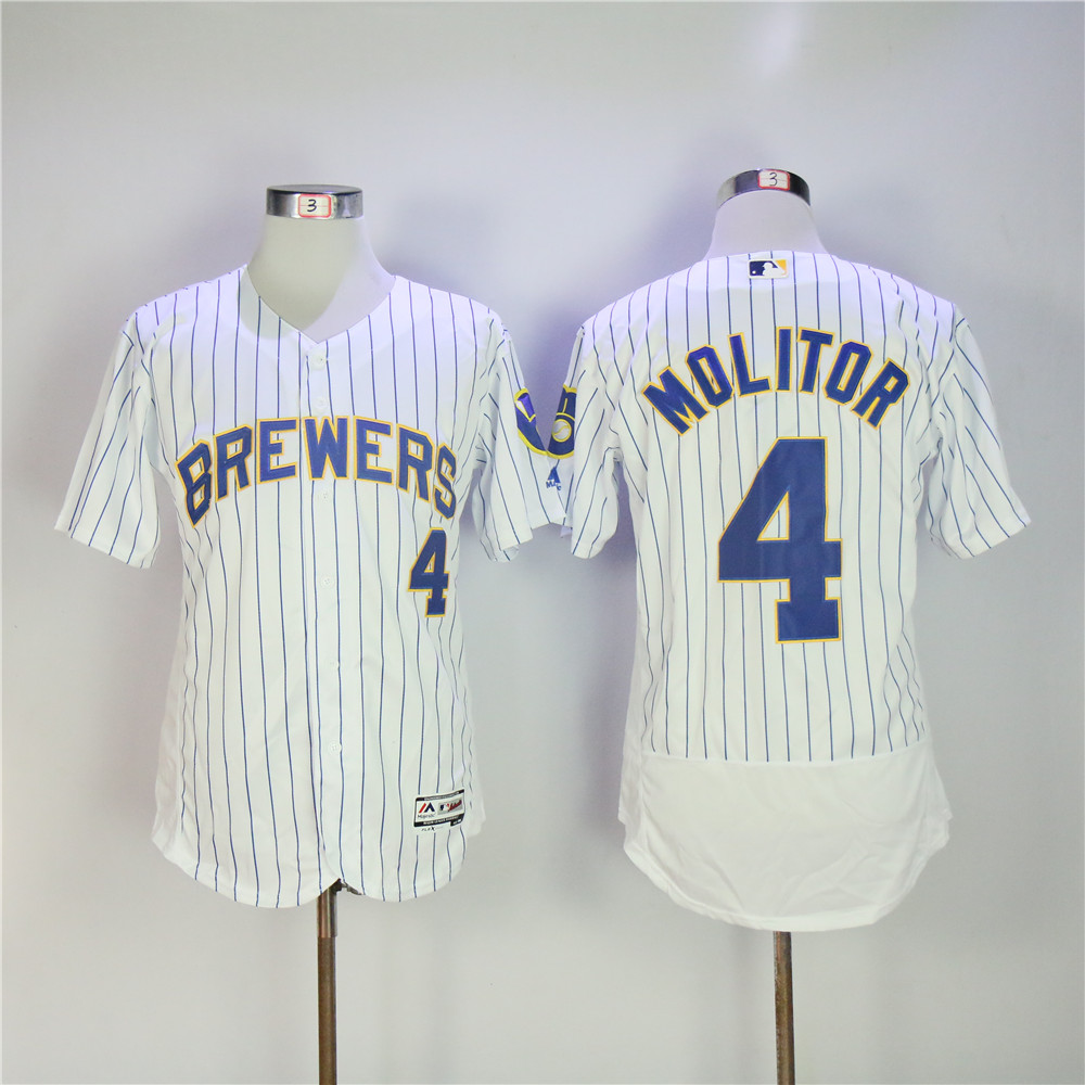 Men Milwaukee Brewers 4 Molitor White stripe MLB Jerseys