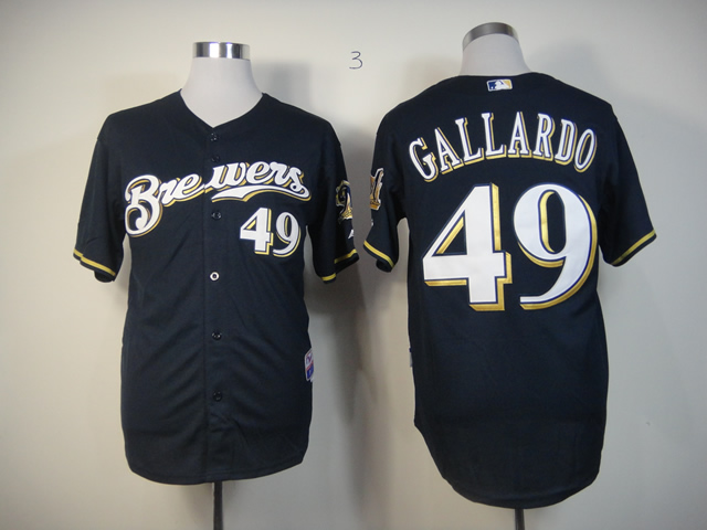 Men Milwaukee Brewers 49 Gallardo Blue MLB Jerseys